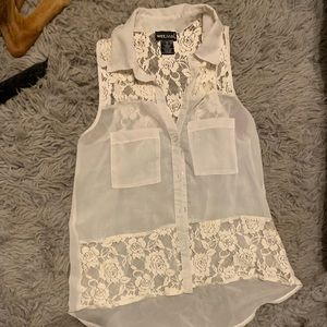 White sheer button up top.